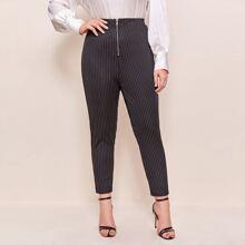 Plus Striped Zipper Tailored Pants