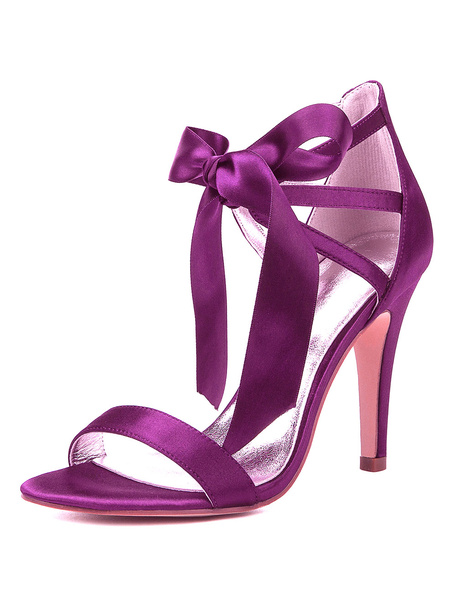 Milanoo Satin Mother Shoes Purple Open Toe Cut Out Lace Up Wedding Shoes High Heel Bridal Shoes