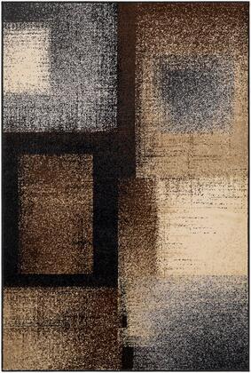 Paramount PAR-1086 53 x 79 Rectangle Modern Rug in Dark Brown  Black  Charcoal  Medium Gray  Khaki