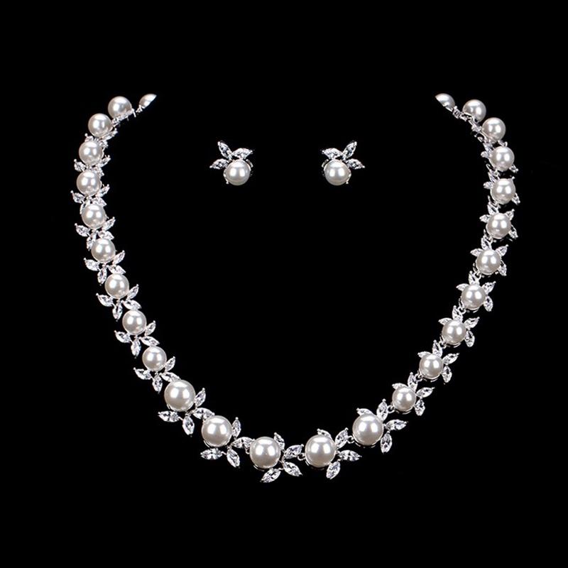 Pearl Inlaid Spherical Earrings Jewelry Sets (Wedding)