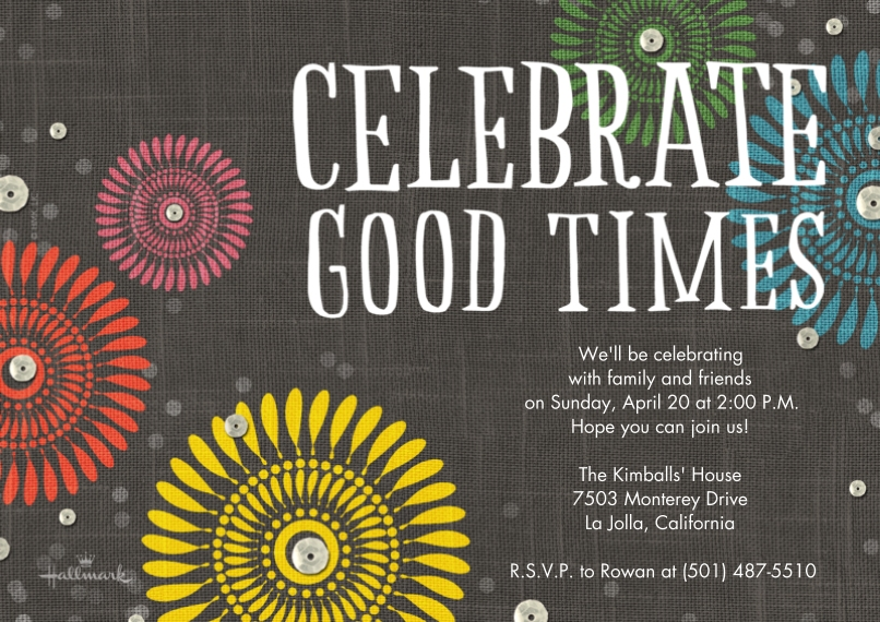 Birthday Party Invites 5x7 Cards, Standard Cardstock 85lb, Card & Stationery -Celebrate Good Times