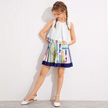 Girls Fold Pleated Baroque Sleeveless Top & Pleated Skirt Set
