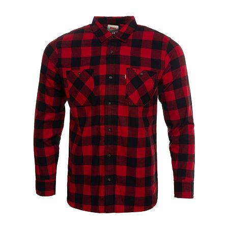 Levi's Mens Long Sleeve Flannel Shirt, Medium , Red