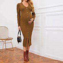 Maternity Single Breasted Split Hem Rib-knit Dress