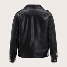 PU Leder Jacke mit asymmetrischem Reissverschluss