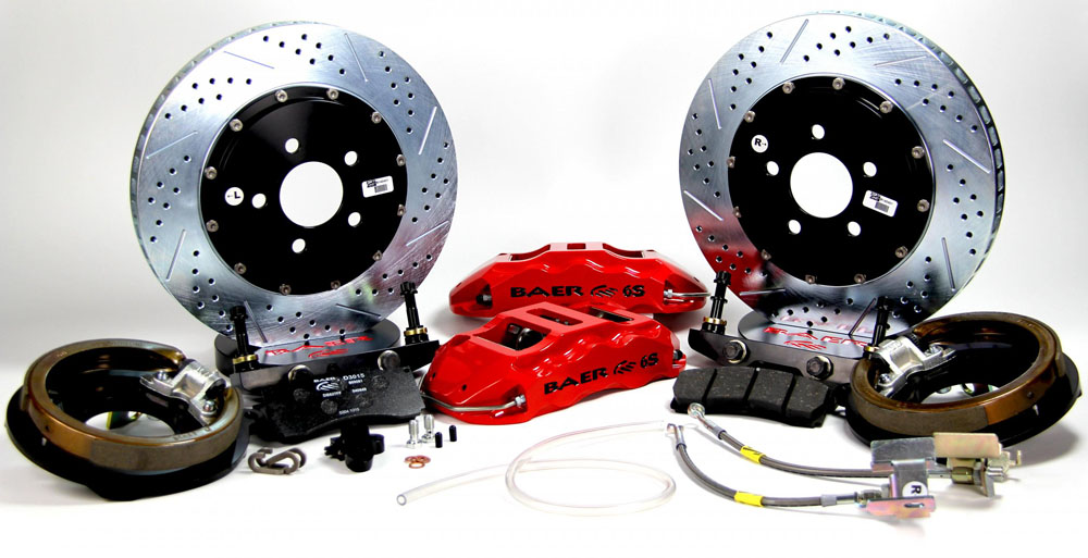 Baer Brakes Brake System 14 Inch Rear Extreme+ with Park Brake Red 65-70 Chevy Full Size Car