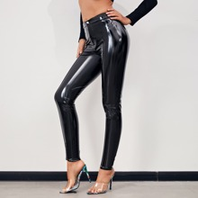 Buttoned Waist Faux Patent Skinny Pants
