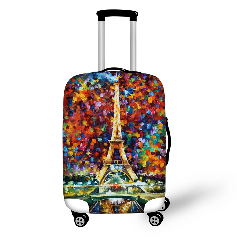 Oil Style Eiffel Tower Pattern 3D Painted Luggage Protect Cover