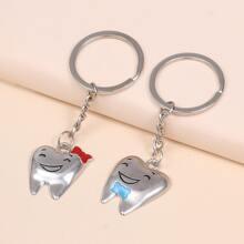 2pcs Tooth Charm Keychain