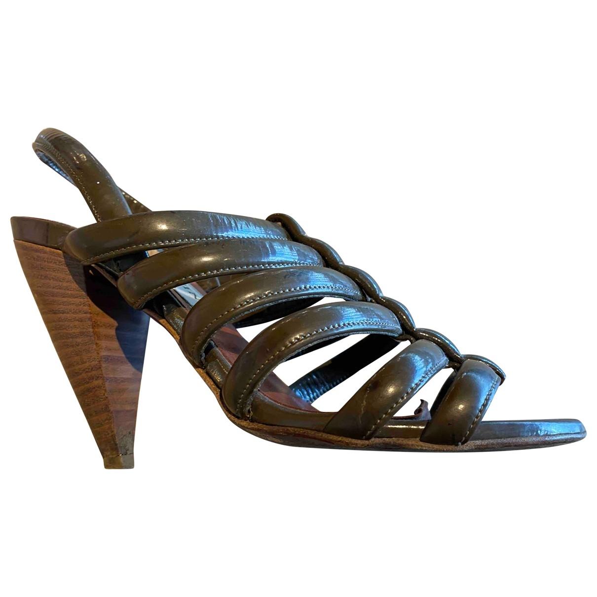 Lanvin - Sandales   pour femme en cuir verni - vert