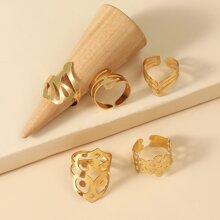 5 Stuecke Ring mit Ausschnitt