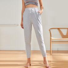 Side Stripe Tie Front Sports Pants
