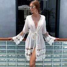 Guipure Lace Insert Drawstring Waist Swiss Dot Chiffon Kimono