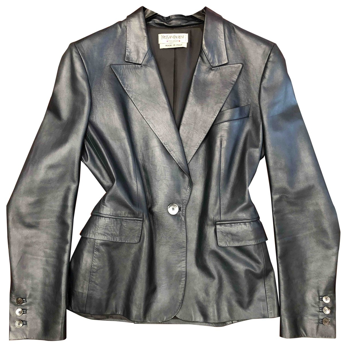 Yves Saint Laurent \N Blue Leather jacket for Women 42 IT
