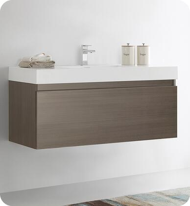 FCB8011GO-I  Mezzo 48 Gray Oak Wall Hung Modern Bathroom Cabinet with Integrated