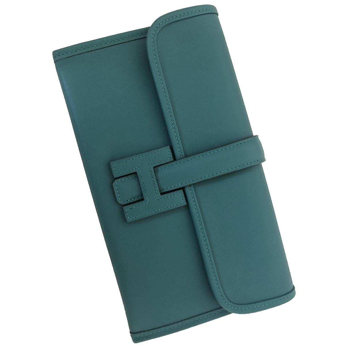 Hermès Jige Green Leather wallet for Women \N