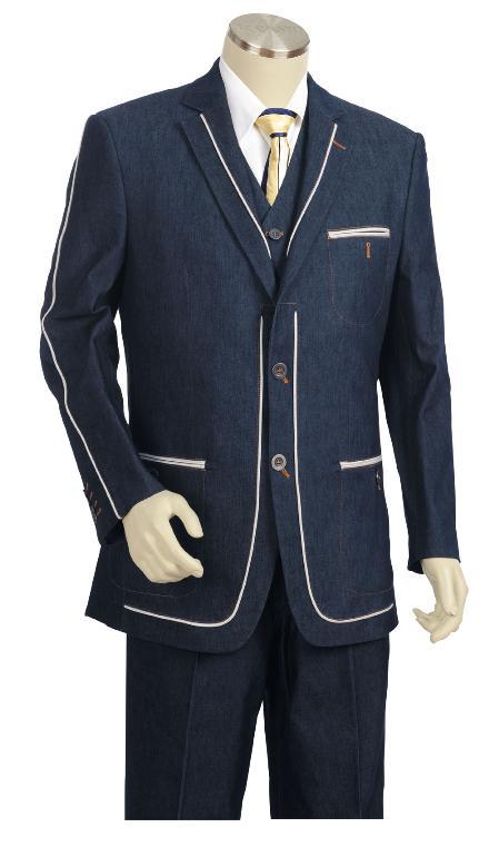 3 Button Suit Wide Leg Pants Woolf eel Navy Trousers Suit Jacket