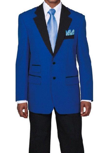 Mens Light ~ Royal blue Tuxedo with Black Lapeled Dinner Jacket