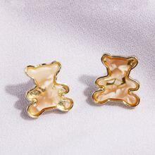 1pair Cartoon Bear Shaped Earrings