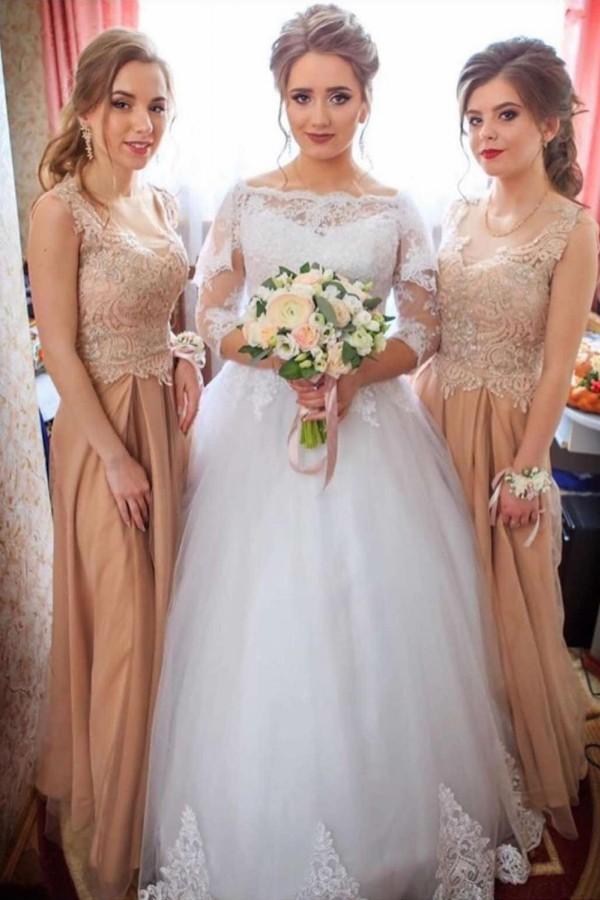 Apliques de encaje vestidos de novia de manga larga | Vestidos de novia hasta el suelo de tul