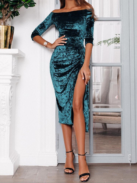 Milanoo Sexy Bodycon Dress Velour Party Dress Ruched Off The Shoulder Shaping Midi Dress