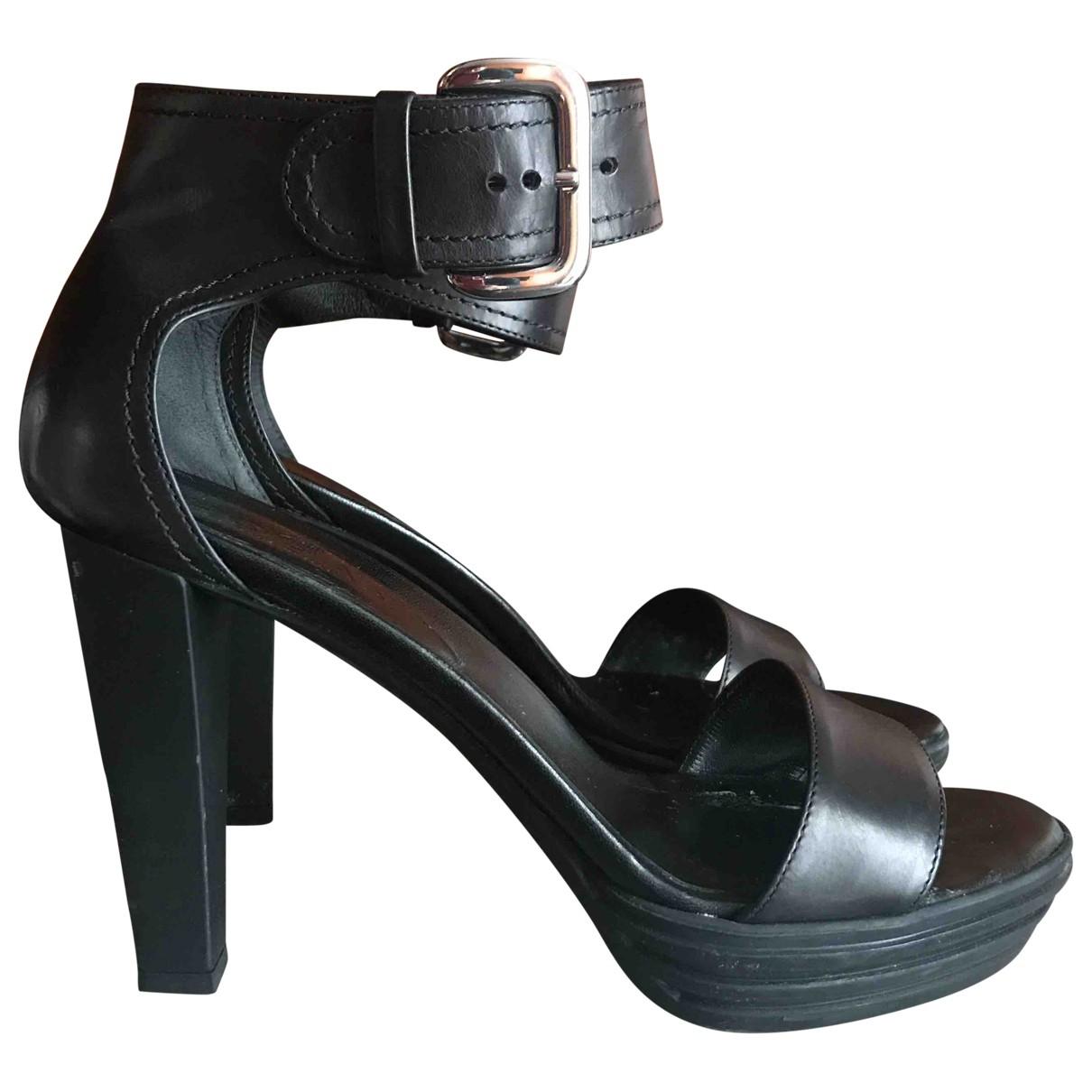 Hogan - Sandales   pour femme en cuir - noir
