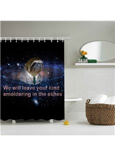 3D Sloth in Galaxy Printed Polyester Blue Bathroom Shower Curtain