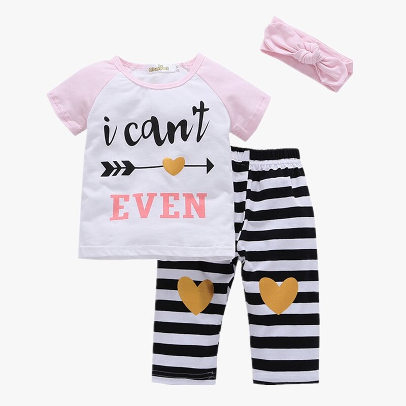 Girl's Striped Heart-shaped Print Casual Short Sleeves Pajama Set+Headband For 1-7Y