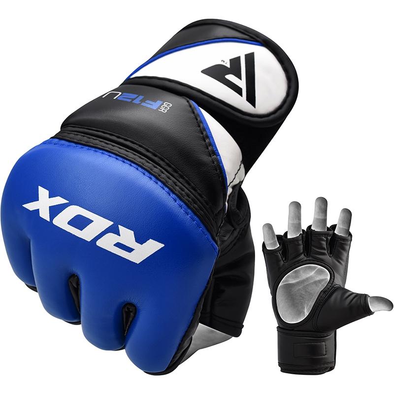 RDX F12 Entrainement MMA Gants de Grappling Grande  Bleu Cuir PU