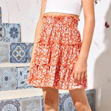Girls Frill Trim Daisy Floral Skirt