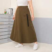 Plus Buckle Pocket Side Maxi Skirt