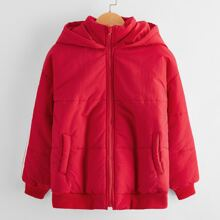 Girls Striped Side Zipper Placket Hooded Puffer Jacket