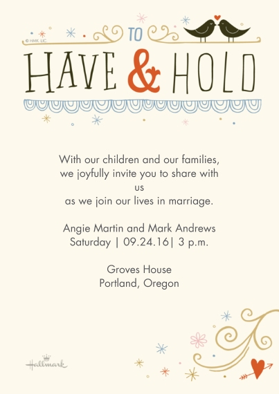 Wedding Invitations 5x7 Cards, Standard Cardstock 85lb, Card & Stationery -To Have and Hold Lettering