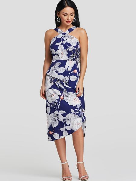 Yoins Blue Random Floral Print Sleeveless Halter Dress