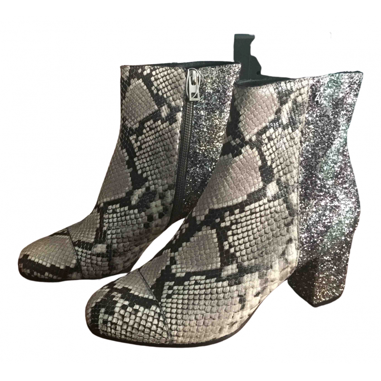 Zadig & Voltaire Lena Wild Grey Leather Ankle boots for Women 39 EU