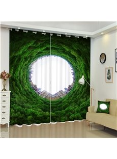 Thick and Fresh Trees with Huge Hole 3D Decorative and Blackout Room Curtain
