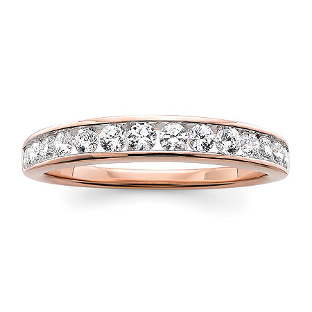 3MM 1/2 CT. T.W. Genuine White Diamond 10K Rose Gold Wedding Band, 9 , No Color Family