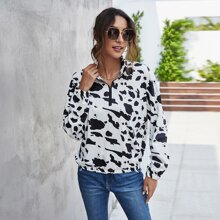 Drop Shoulder Cow Print Zipper Pullover