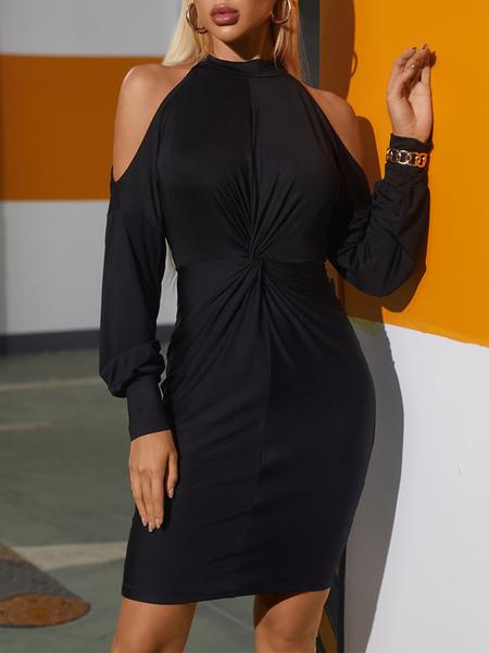Yoins Black Cold shoulder Twist Long sleeves Mini Dress