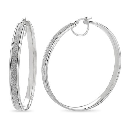 Sterling Silver Round Hoop Earrings, One Size , No Color Family