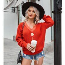 Strick Pullover mit Kontrast Spitzen und V-Kragen