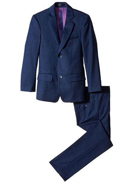 kids children Boys' Navy Slim Linen Notch Lapel 2 Piece Cut Suit