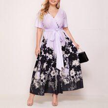 Plus Surplice Neck Floral Print Tie Front Dress