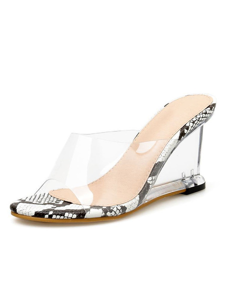 Milanoo White Wedge Sandals Womens Open Toe Backless Sandal Slippers