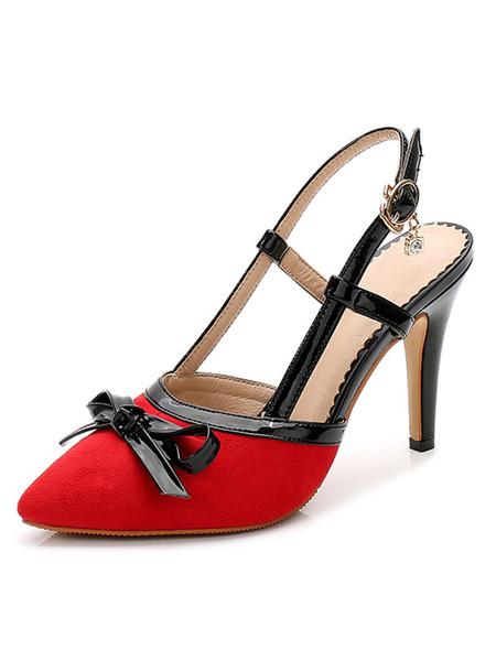 Milanoo Zapatos de tacon de puntera puntiaguada Piel sintetica de color-blocking con lazo de tacon de stiletto