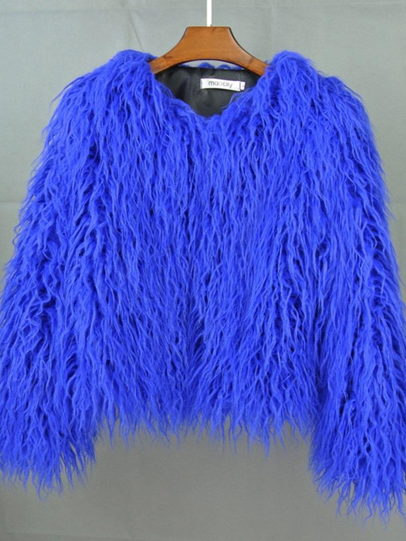 Ericdress Regular Plain Standard Winter Loose Faux Fur Overcoat