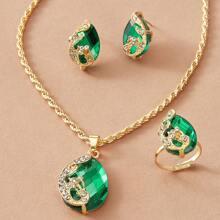 4 Stuecke Juwelen Set mit Edelstein