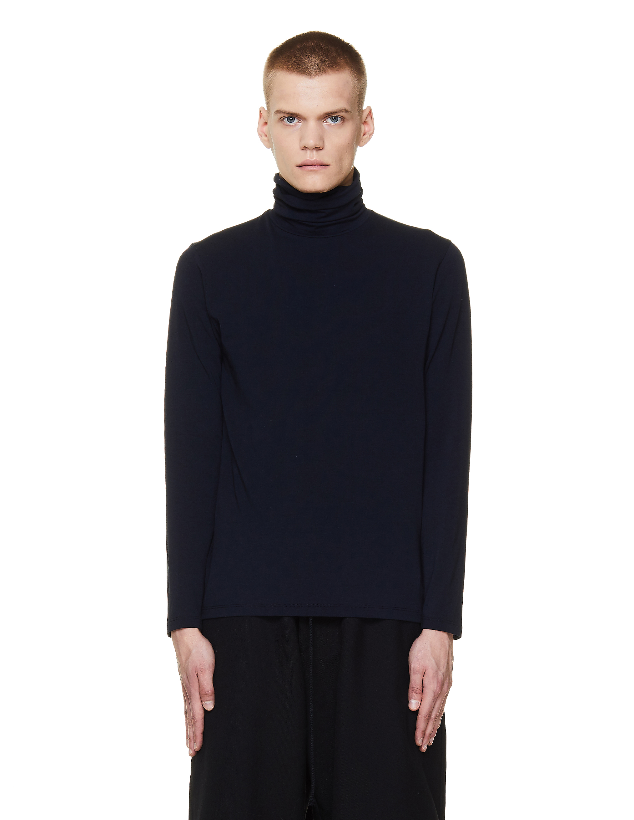Jil Sander Navy Blue Cotton Turtleneck