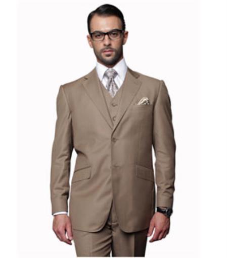 Mens 2 Button Pleated Pants Vested 3 Piece Suit 100% Wool Bronze