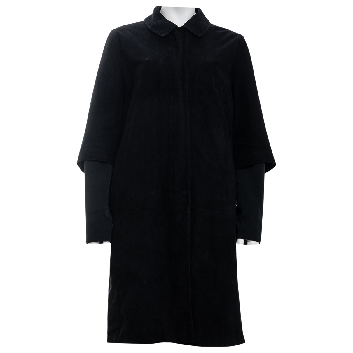 Max Mara - Manteau   pour femme en suede - noir